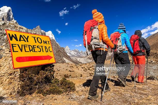 groupe de randonneurs sur le chemin du camp de base de l'everest - mont everest photos et images de collection