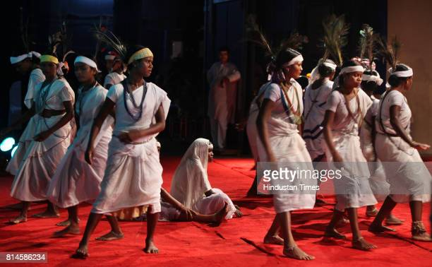 Group of tribal dancers from Petha village from Gadchiroli district just before performance of Radlaa dance a popular folk dance of the region...