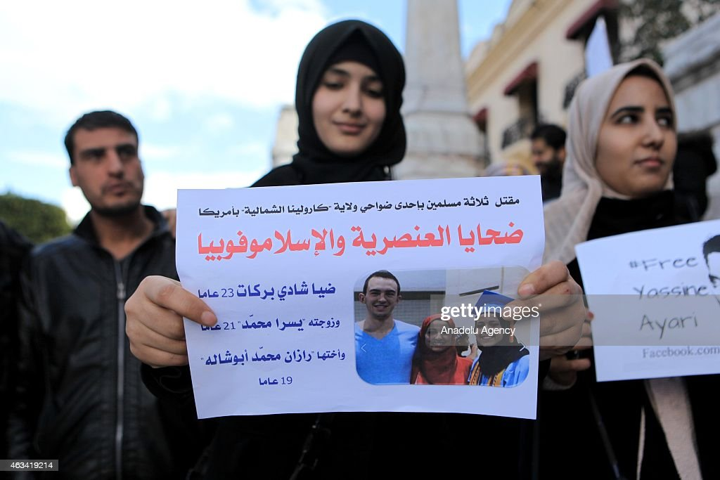 Protest in Tunis against kiling of Muslim students in US : News Photo