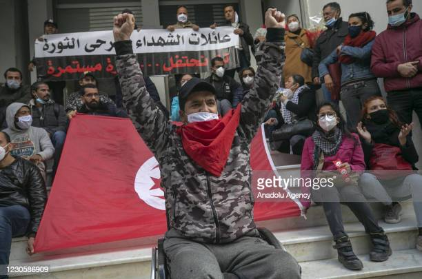 Group of Tunisians stage a demonstration demanding that the names of those who lost their lives in mass public demonstrations on January 14, 2011...