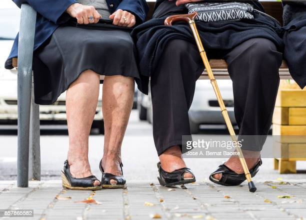 Group of two elderly women sitting on a park bench in the street talking outdoors
