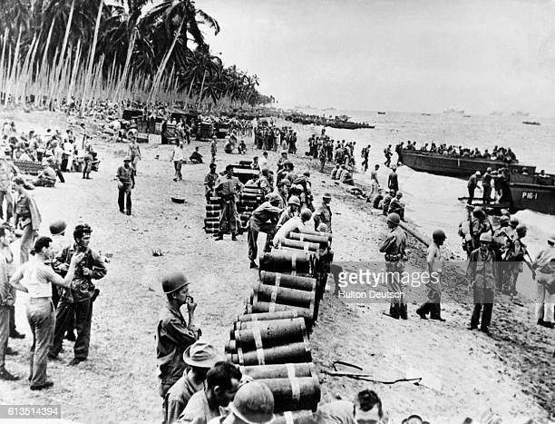 A group of United States marines prepare to leave Guadalcanal after months of fighting on the South Pacific island