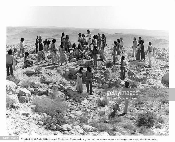 Group of unknown actors gathered on a hill on rocks in a scene from the film 'Jesus Christ Superstar', 1973.