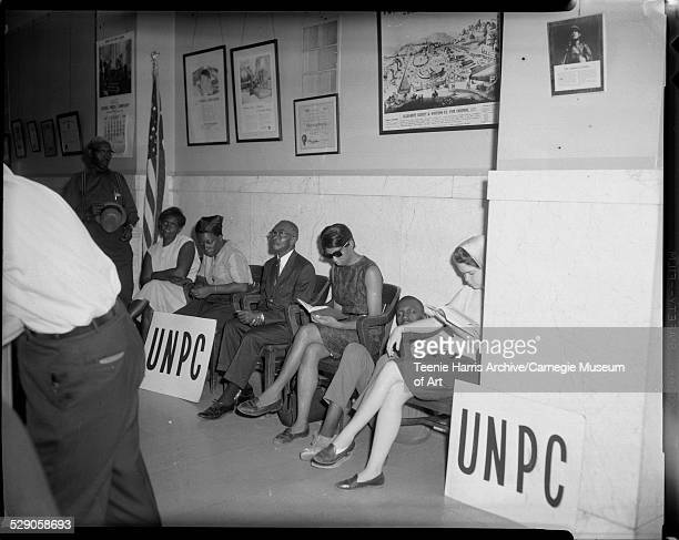 Group of UNPC demonstrators gathered in the County Commissioners' offices, Allegheny County Courthouse, Pittsburgh, Pennsylvania, August 1965.