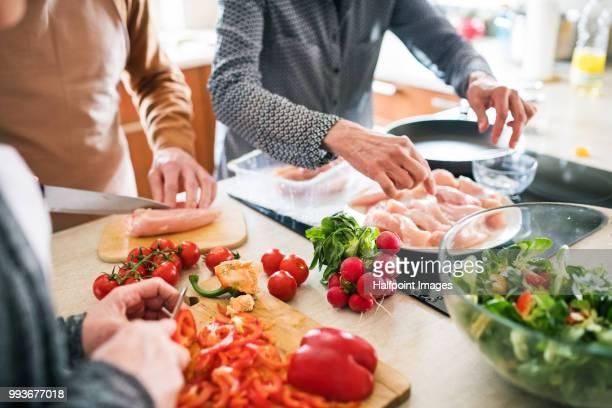 group of unrecognizable senior friends cooking dinner together at home. - placa de fogão - fotografias e filmes do acervo