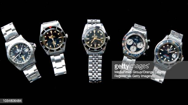 A group of used vintage Rolex watches from Bob's Watches in Westminster Pictured from left 1978 Explorer II Steve McQueen a 1955 Rolex Submariner a...