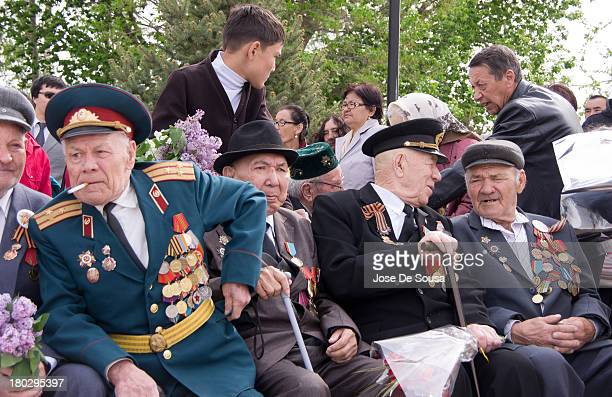 CONTENT] A group of veterans from the World War 2 part of the exSoviet Union's Red Army during the celebration of Victory Day in the city of Atyrau...