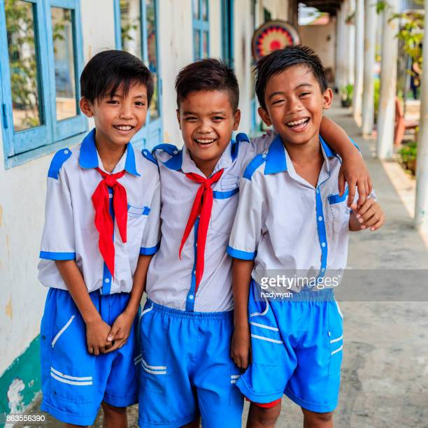 group of vietnamese schoolboys, south vietnam - traditionally vietnamese stock pictures, royalty-free photos & images