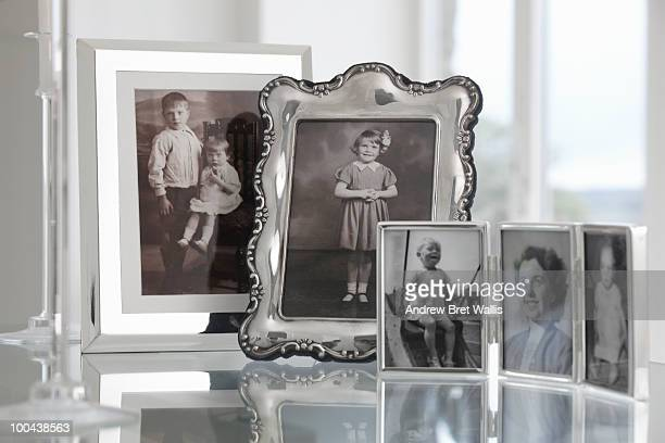 group of vintage framed family photographs
