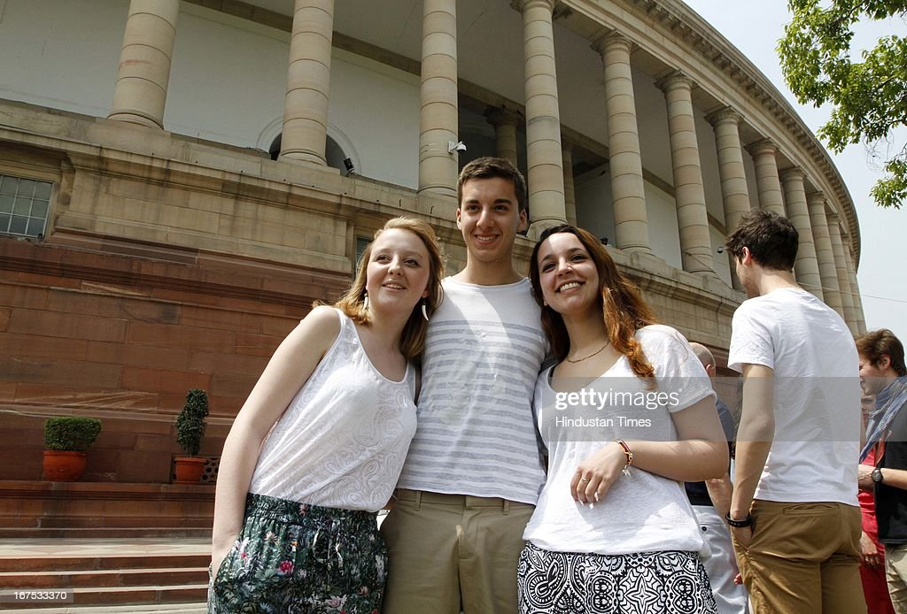 A group of Visitors from Paris at Parliament House on April 26, 2013 in New Delhi, India. The proceedings of Parliament have been disrupted since the start of the second part of Budget session on April 22 due to various issues including coal scam.