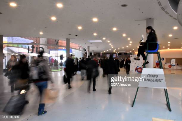 A group of visitors seen leaving the Mobile World Congress in Barcelona The Mobile World Congress 2018 is being hosted in Barcelona from 26 February...