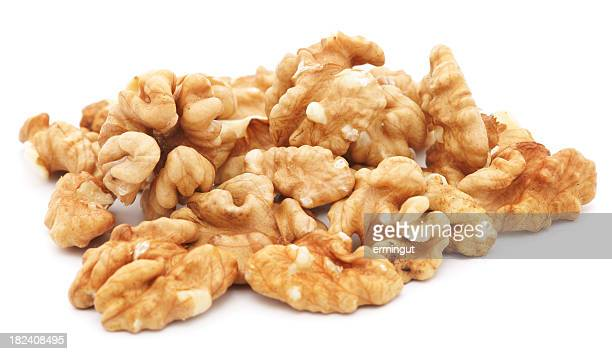 Group of walnuts isolated on white