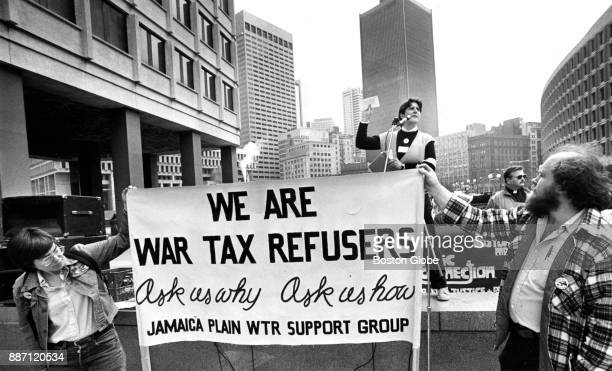 A group of 'War Tax Refusers' stage a demonstration outside the John F Kennedy building in Boston on April 16 1985