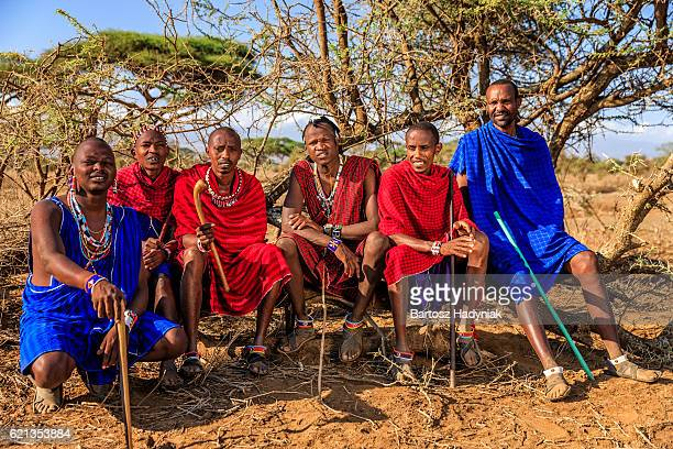 Group of warriors from Maasai tribe, Kenya, Africa