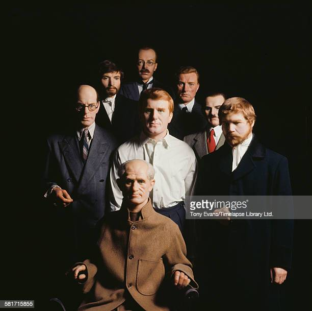 A group of waxwork murderers at Madame Tussauds in London circa 1980 They include Reginald Christie Dr Crippen Burke and Hare Neville Heath John...
