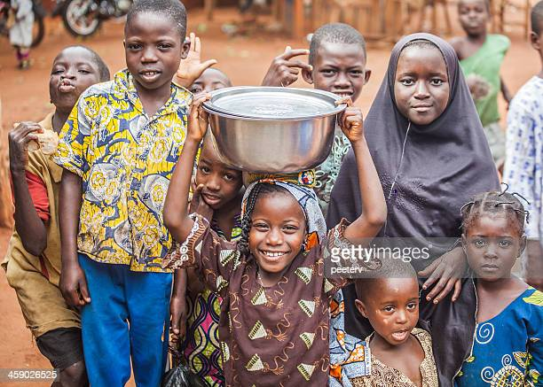 group of west african children. - native african girls stock photos and pictures
