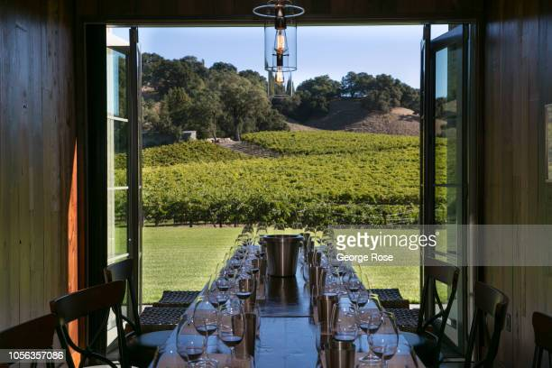 A group of wine lovers get ready to taste cabernet sauvignon at Robert Young Estate Winery on October 9 near Healdsburg California A cool spring and...