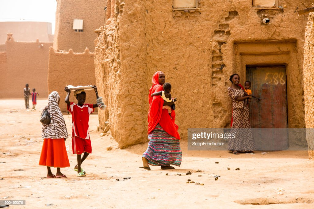 Group of woman in the streets of Agadez : Stock Photo