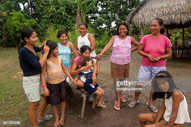 A group of women and girls in a village along the Maranon River in the Peruvian Amazon River basin near Iquitos