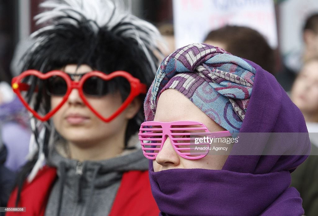 A group of women and men march against the violence to women during International Women's Day in Kiev, Ukraine, on March 8, 2015.