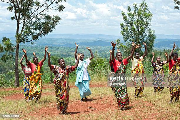 group of women are performing a traditional dance, burundi, africa - burundi east africa stock pictures, royalty-free photos & images