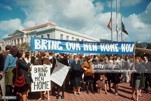 A group of women demonstrate against the Vietnam War on the campus of U C Berkeley