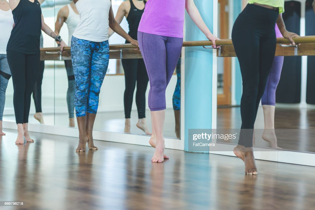 Group of Women Doing Barre Workout : Stock Photo