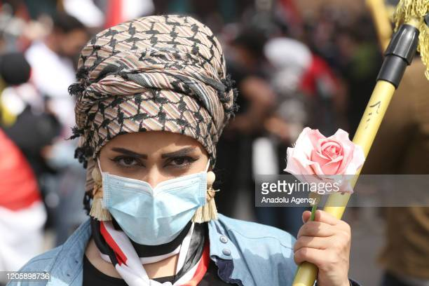 Group of women gather during 'International Women's Day' on March 08, 2020 at Tahrir square in Baghdad, Iraq.