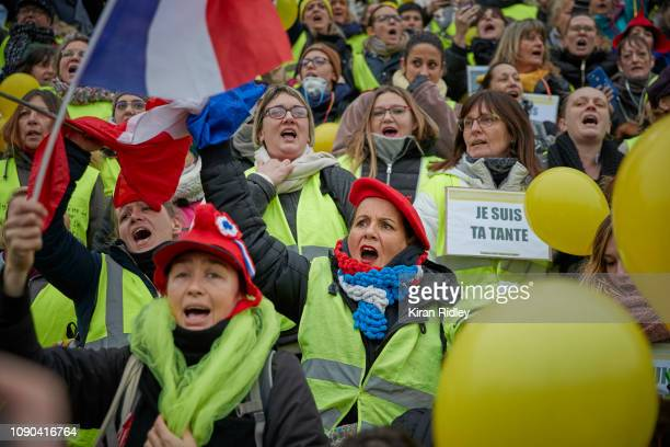 Group of Women Gilets Jaunes or Yellow Vest protest at Place de la Bastille with many waving the French Flag and symbolic Yellow Balloons on January...