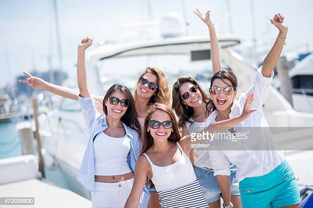 Group of women going on holidays  on a yacht