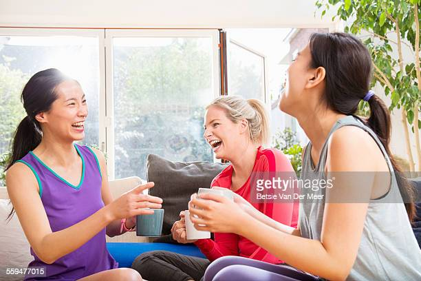 group of women having a break after exercising