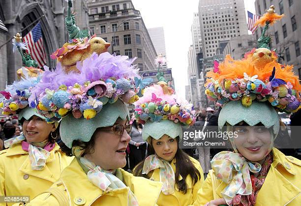 A group of women known as The City Chicks make their way up Fifth Avenue on Easter Sunday March 27 2005 in New York City Hundreds of people gathered...