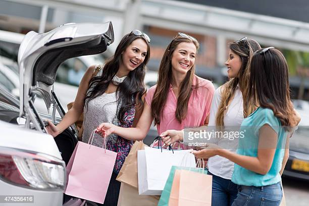 Group of women on a shopping spree