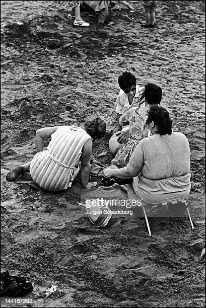 A group of women on the beach UK 1965