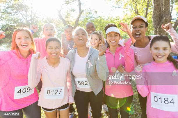 Group of women participate in breast cancer awareness event