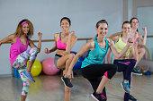 Group of women performing aerobics