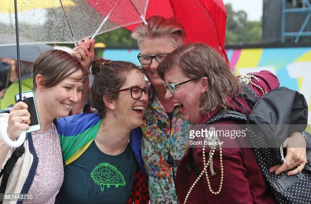 A group of women react as they gather with a crowd of people to watch a large television screen at Federation Square as it is announced that samesex...