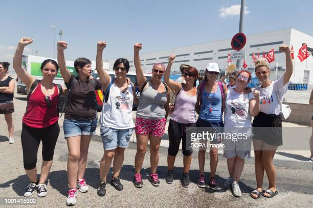 Group of women seen supporting their fellow women workers during the protest A three day strike by the works council during the Prime Day demanding...