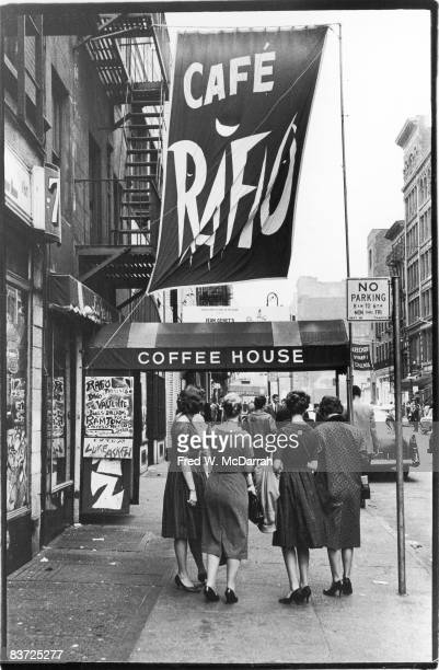 A group of women stand near the entrance to the Cafe Rafio New York New York October 16 1960