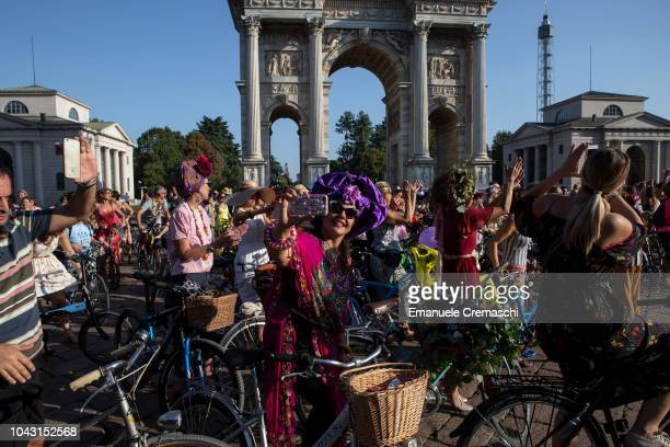 A group of women takes part to the Fancy Women Bike Ride at Arco della Pace on September 23 2018 in Milan Italy TheFancy Women Bike Ride is a...
