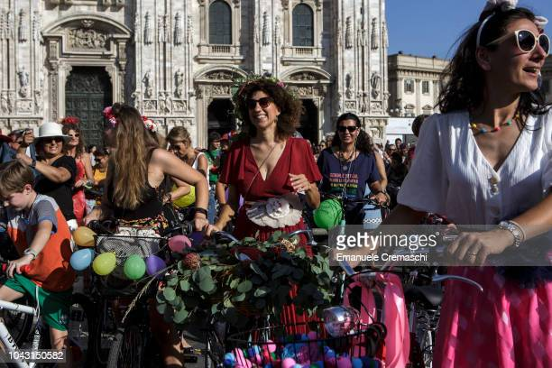 A group of women takes part to the Fancy Women Bike Ride at Piazza del Duomo on September 23 2018 in Milan Italy TheFancy Women Bike Ride is a...