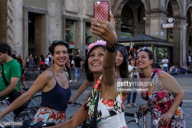 A group of women takes part to the Fancy Women Bike Ride on September 23 2018 in Milan Italy TheFancy Women Bike Ride is a worldwide cycling...