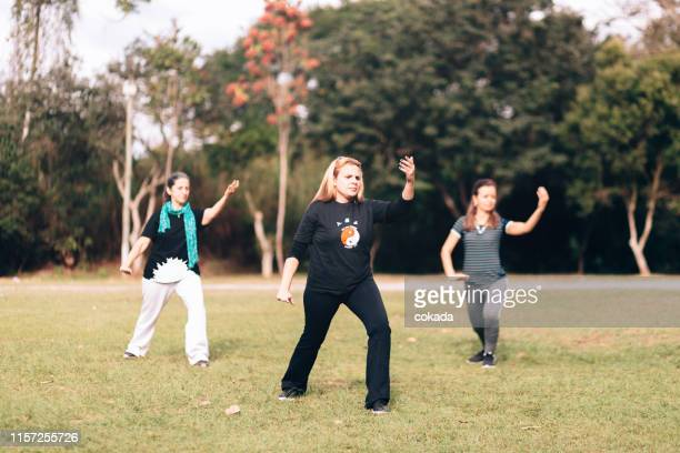 group of women training tai chi chuan outdoors - kung fu yoga stock pictures, royalty-free photos & images