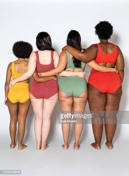 group of women with different body type and shape - cellulite foto e immagini stock
