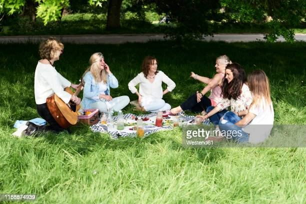 group of women with guitar having fun at a picnic in park - medium group of people stock pictures, royalty-free photos & images