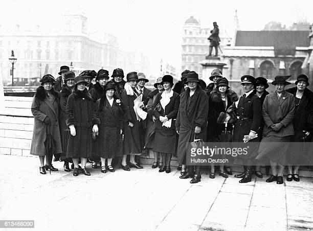 A group of women's representatives including Viscountess Astor and Lady Rhonda call on the Prime Minister to discuss equal franchise for men and...