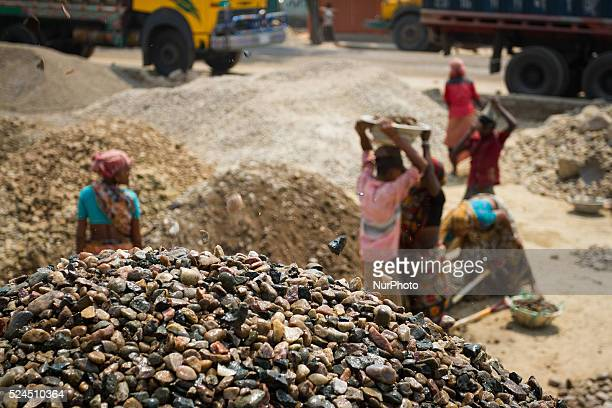 A group of workers are working in a Stone Crashing Plant in Sylhet Bangladesh A huge percentage of stone is being supplied to all over the Bangladesh...