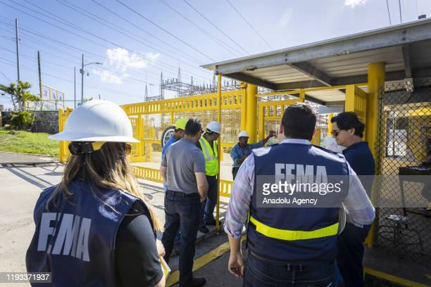 Group of workers from Costa Sur Power Plant Complex meet with engineers and FEMA workers after 6.4-magnitude earthquake hit Guayanilla, Puerto Rico...