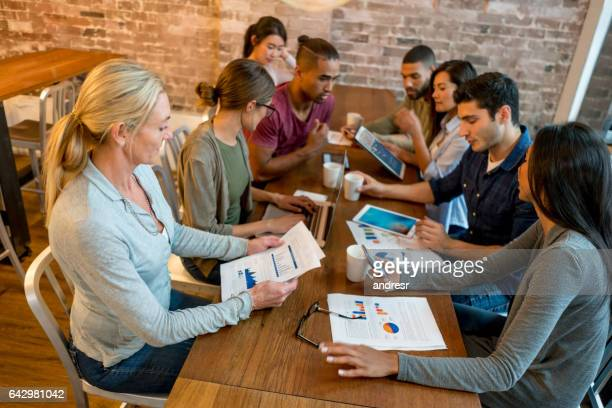Group of workers in a meeting at a creative office