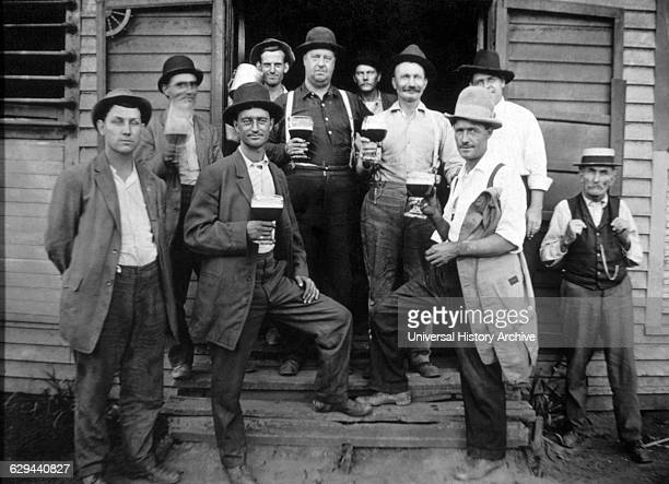 Group of Working Men Drinking Beer USA circa 1905